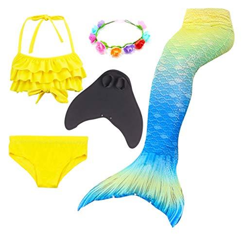 LCXYYY Mädchen Meerjungfrauen Schwanz Flosse zum Schwimmen Schwimmanzug Badeanzug Prinzessin Cosplay Kostüm Meerjungfrauenschwanz für Kinder Bademode Tankini Bikini Set Monoflosse Blumenkranz - Schwimmen Kostüm Mit Rock