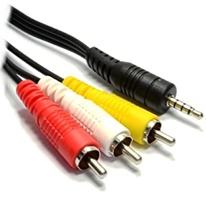 Mjs Technologies prise jack 3,5mm mâle vers 3RCA phono mâle adaptateur câble adaptateur vidéo, prise de 3,5mm mâle vers 3RCA mâle (Red-yellow-white) Connecteurs pour AV, Audio, vidéo, TV LCD, HDTV