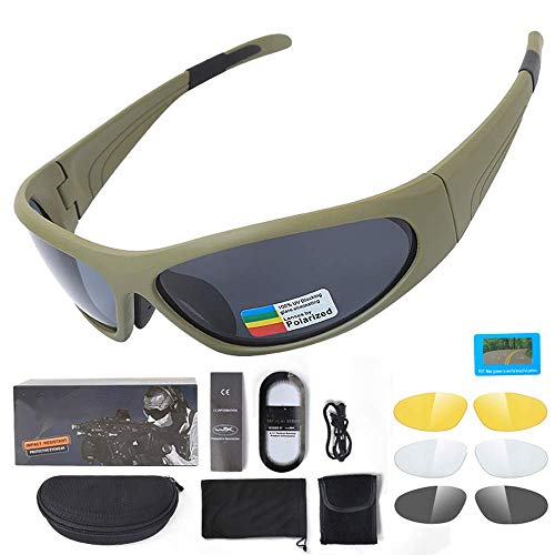 WYBFBYQ Taktische Brille Herren Polarisierte Sonnenbrille Schutzbrille, UV 400 Schutzbrillen Explosionssichere Sonnenbrille Anti-Fog, Outdoor Driving Fishing,Black