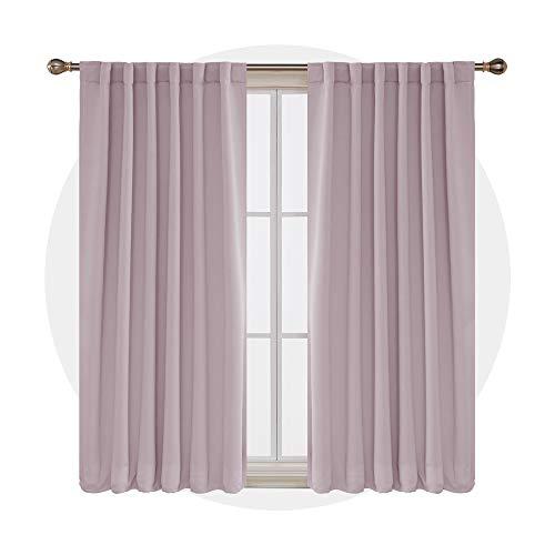 Deconovo tende oscuranti terimiche isolanti con passanti per camera da letto moderni 140x290cm rosa chiaro 2 pannelli