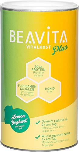 BEAVITA Vitalkost Plus - Zitrone-Joghurt Pulver 572g - Diät-Shake für unbeschwertes Abnehmen - reicht für 10 Shakes/Mahlzeiten - Kalorien sparen & Gewicht reduzieren mit dem 14 Tage-Diätplan inkl.