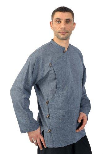 - Chemise ethnique bleu gris chiné Arhundati - Gris