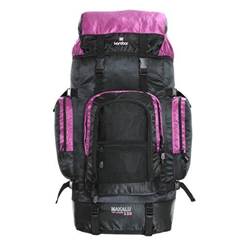 Karabar Große Trekkingrucksäck Wanderrucksack Wasserabweisend XL 120 Liter 85 cm 1 kg, Makalu Schwarz Grau Pink