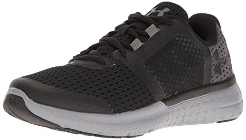 Under Armour Boys' Grade School Micro G Fuel Running Shoes, Black/Steel, 6.5 M US Big Kid