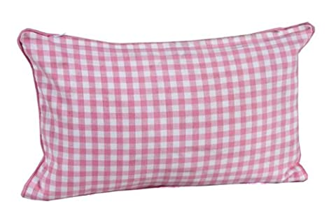 Homescapes - 100% Cotton - Gingham Check - Filled Cushion - 30 x 50 cm Rectangular - 12 x 20 Inches - Pink White - 100% Cotton - Cover Well Filled Pad - Washable
