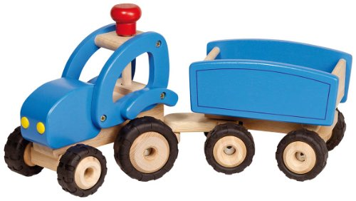 Goki - 2041276 - Figurine Transport Et Circulation - Tracteur en Bleu avec Remorque