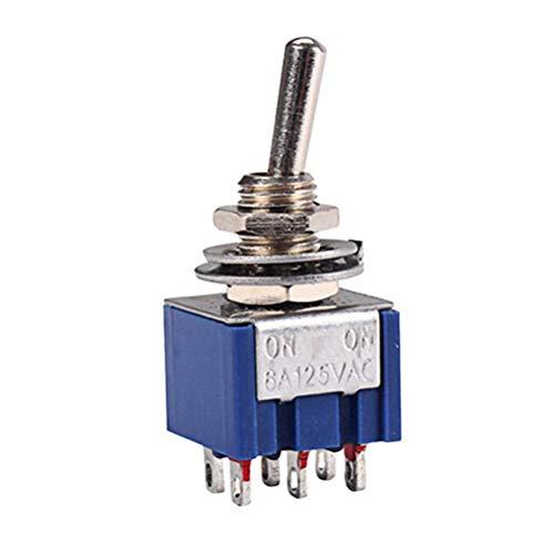 SUPVOX GN109A 6 Füße AC ON-ON SPDT 2 Position Selbstkippschalter 6A 125 V (Blau) - Zwei Rocker Switches
