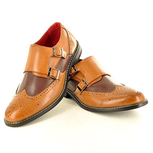 Herren Leder gefüttert Double Mönch Strap Slip On Brogue Büro Schuhe Tan / Brown