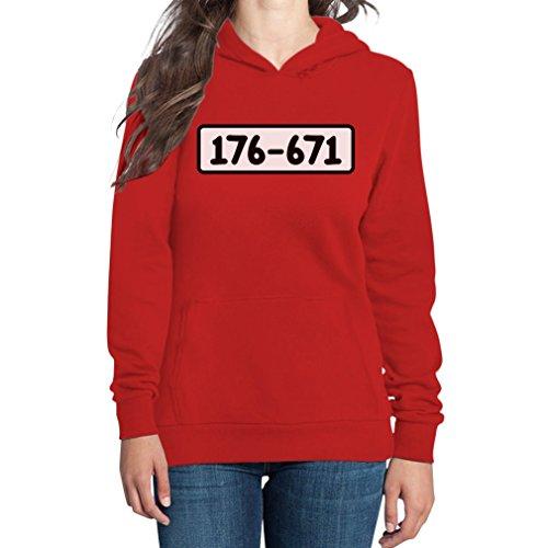 Zahlen Gefängnis Kostüm - Panzerknacker Shirt Kostüm Karneval Fasching Frauen Kapuzenpullover Hoodie Medium Rot