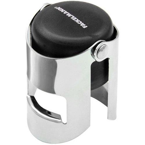 FACKELMANN 649486 Sektflaschenverschluss 3,5x5,5cm aus ABS/Metall verchromt, Kunststoff, Schwarz/Silber, 5,5 x 3,5 x 3,5 cm