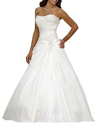 Erosebridal Neu Weiß Satin Brautkleid Hochzeitskleid Abendkleid Ballkleid DE44