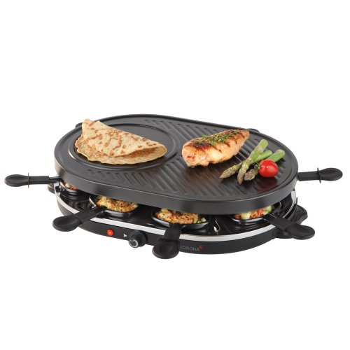 Korona 45000 Raclette-Grill-klassisch schwarz-für 8 Personen 1200 Watt