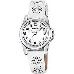 Calypso Children's Watch Elegant White Junior Quartz Analogue Leather Strap Watch Girl's Watch UK5712/1