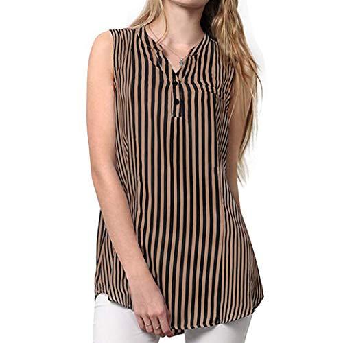 VECDY Frauen T Shirt Mädchen Ärmelloses Gestreiftes Bedrucktes V-Ausschnitt Lässige Bluse Shirt Mode Pullover Sweatshirt Tops S-2XL