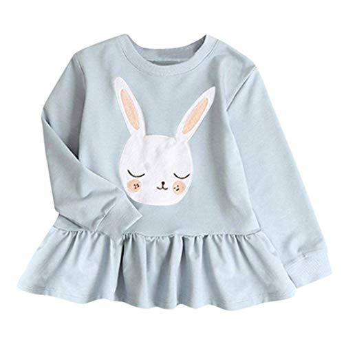 (Euaoqi Clearance/Toddler Kids Baby Girls Long Sleeve Dresses Clothes Animal Rabbit Print Dress Outfits (Light Blue))