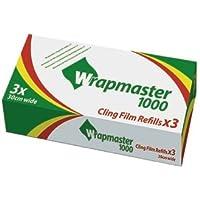 Wrapmaster 1000 - Papel de plástico de recambio (300mm x 100m, juego de 3 unidades)