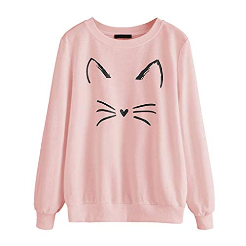 GOKOMO Sweatshirt Damen MäDchen Hoodie Pullover Cat Drucken Kapuzenpullover Casual Langarm Top Langarm Top Mit Rundem Ausschnitt(Rosa,Small)