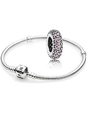 Original Pandora Geschenkset - 1 Silber Armband 590702HV-18 + 1 Silber Zwischenelement 791359PCZ Rosafarbene Pavé-Inspiration