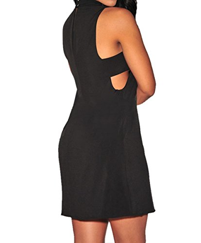 Dissa® D22131 femme mode robe midi Noir