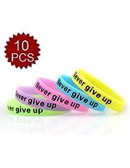(Preis/10PCS) Gogo Never Give Up Silikon Armbänder, Händen Gummi Armbänder, Partyzubehör