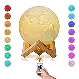 Albrillo RGB 3D Erde Lampe 15cm mit Remote & Touch Control, 16 Lichtfarben und dimmbar Nachtlicht, USB Wiederaufladbar als Deko und Geschenke, 12.5um Oberflächengenauigkeit