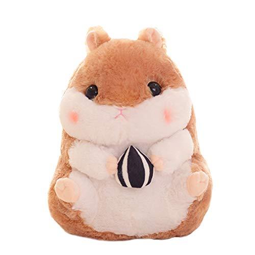 MoGist Kuscheltier Plüschtier Kissen Niedlichen Cartoon Hamster Isst Snacks Form Kleine Puppe Spielzeug Geschenk Für Kinder (Braun)