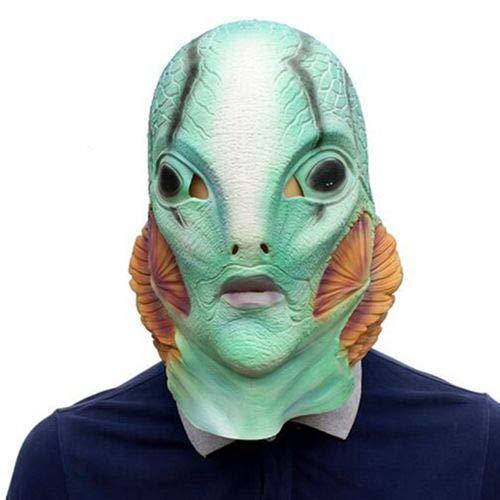 Dodom 2018 Film Die Form der Wassermaske Horror Cosplay Merman Latex Fisch Maske Requisiten Kostüm Halloween Party Maske Helm, Bild Farbe