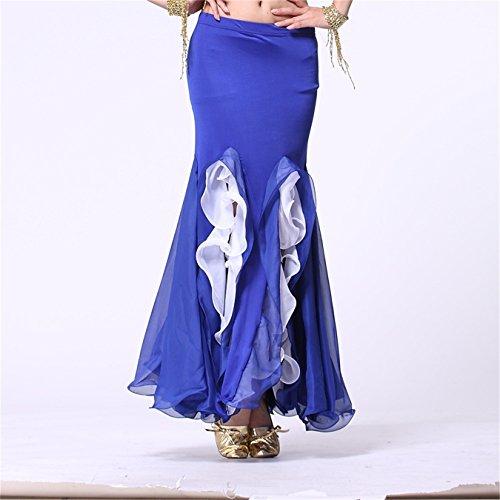 Damen Tanzkleidung Bauchtanz Rock Tribal Lotus Edge Tanzen Kost¨¹me Maxi Rock Mermaid Kleid Dark Blue
