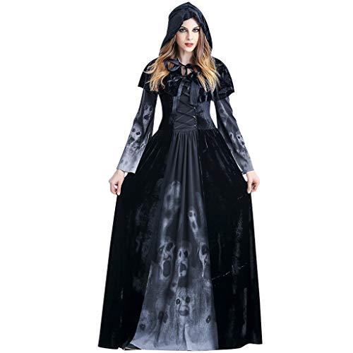 Langes Hexen Kleid Halloween Kostüm mit Kapuze Frauen -