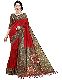 Indira Designer Women's Art Mysore Silk Saree With Blouse Piece (Star-Red)