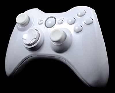 Glossy White Custom Wireless Controller Full Shell Case for XBox 360 Control Blast