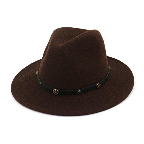 XZP Cappelli Jazz, Design Semplice Causal Jazz Hat Cappello a Tesa Larga in Feltro di Lana Fedora Cappelli Cappello floscio per Uomo Donna
