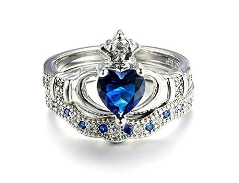 Daesar Damen-Ringe Herz Ring Blau Saphir Zirkonia Ring Set