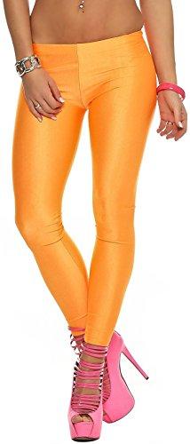 Glanzleggings (versch. Farben) Leggings Glanz Wetlook Glanzleggins Leggins (900147 orange)