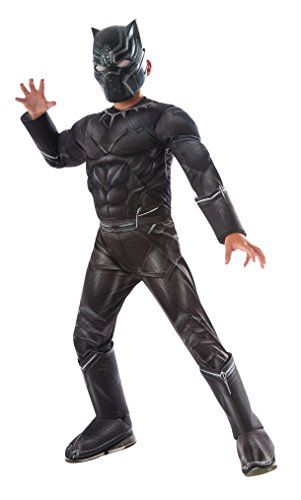 Rubie 's Offizielles Bürgerkrieg Marvel Black Panther Deluxe, Kinder Kostüm – Medium (Black Panthers Kostüm)