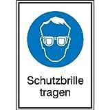 INDIGOS UG - Schutzbrille tragen Gebotsschild, selbstklebende Folie, Größe 13,10x18,50 cm