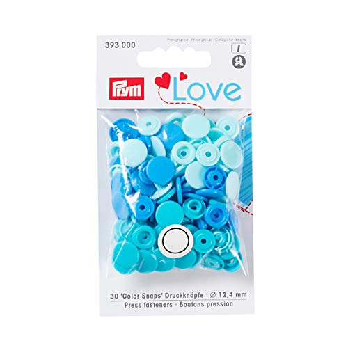 Prym Love Druckknopf Color KST 12,4 mm blau, Polyester, 12.4 mm cm Polyester-snap