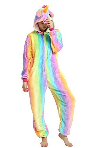 Mystery&Melody Rainbow Unicorn Pyjamas Kostüme Einhorn Cosplay Kostüme Tiere Flanell Unisex Adult Nightwear Kostüme (Onesies Size Erwachsene Plus Für)