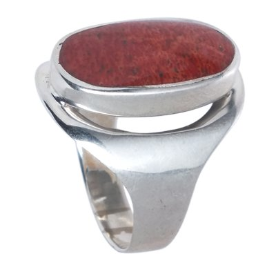 Chic-Red coral alianza juego de accesorios para ajuste plateado anillo coral 925 oval de plata de ley