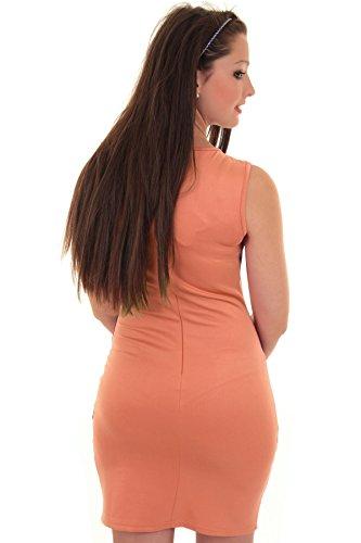 Fantasia Damen Bodycon Kleid Ärmellos Reißverschluss Rücken Spitzen Kontrast Anliegend Pfirsich / Schwarz