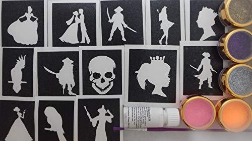 Thema Glitter Tattoo-Set mit Schablonen + + Kleber Glitter Mädchen Kinder Geburtstagsgeschenk ()