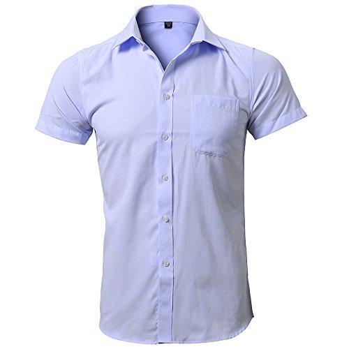 Harrms Les Chemises pour Hommes Chemise Décontractée à Manches Courtes Chemise D'Affaires,8 Couleurs
