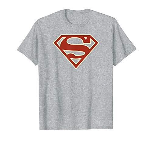 Superman Crimson & Cream Shield Gray T Shirt Damen Crimson Cream