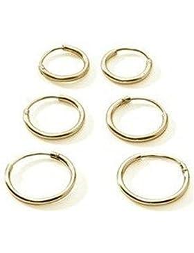 3 Paar Premium Gold überzogenes Sterling-Silber 925 klein Ohrringe Kreolen für Knorpel/Nase/Lippen, 10 mm, 12...