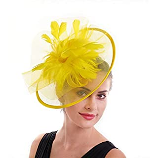 Sinamay Flower Feather Headband Fascinator Wedding Headwear Ladies Race Royal Ascot Pillbox Wedding Cocktail Tea Party Derby Hat For Women (T1-Yellow)