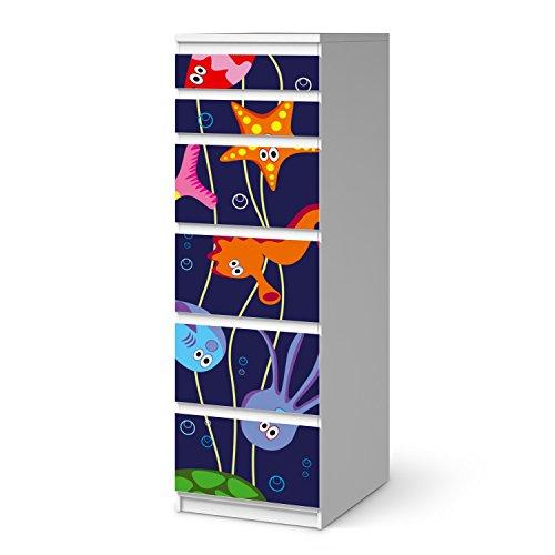 creatisto Möbel-Aufkleber Folie für IKEA Malm 6 Schubladen (schmal) I Sticker Kinder-Zimmer dekorieren I Wohnideen IKEA Möbel für Kinder-Zimmer Dekor I Kids Kinder Underwater Life -