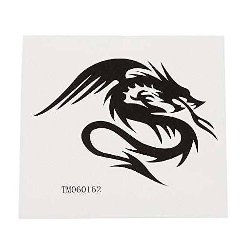 Preisvergleich Produktbild Klebetattoo temporär Tribal Feuer speihender Drache schwarz 1 Motiv 1 Bogen