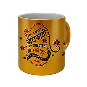Indigifts Rakhi Gifts Of Printed Golden Coffee Mug 330 Ml