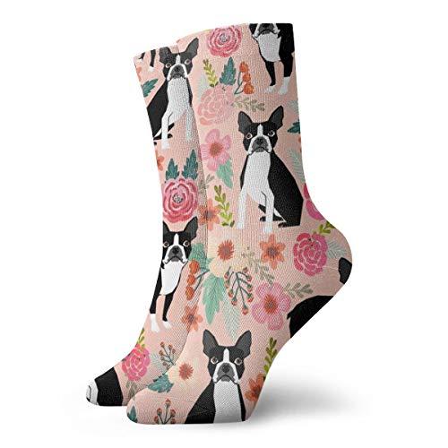 Socken damen 39-42 Boston Terrier Süßes Aquarell Blumen Florals Spring Dogs Pet Puppy_4299,100% Baumwolle Rutschfeste für Herren Damen Einheitsgröße.