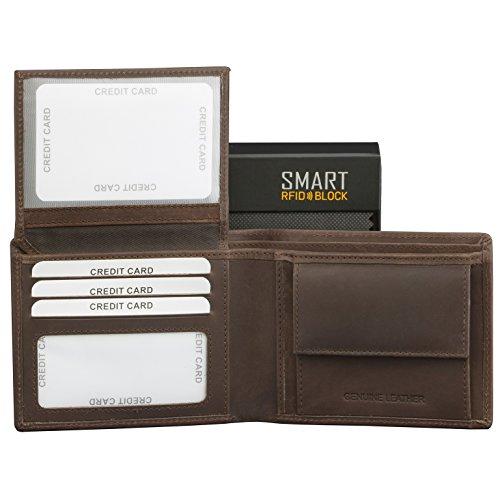 SMART RFID BLOCK Vintage Brieftasche - hochwertiger, hochwertiger Vintage braunes Leder - RFID-geschützt - Etui Geldbörse - Geschenkverpackung - TÜV-geprüft - bei KORUMA - (SM-902HBR)